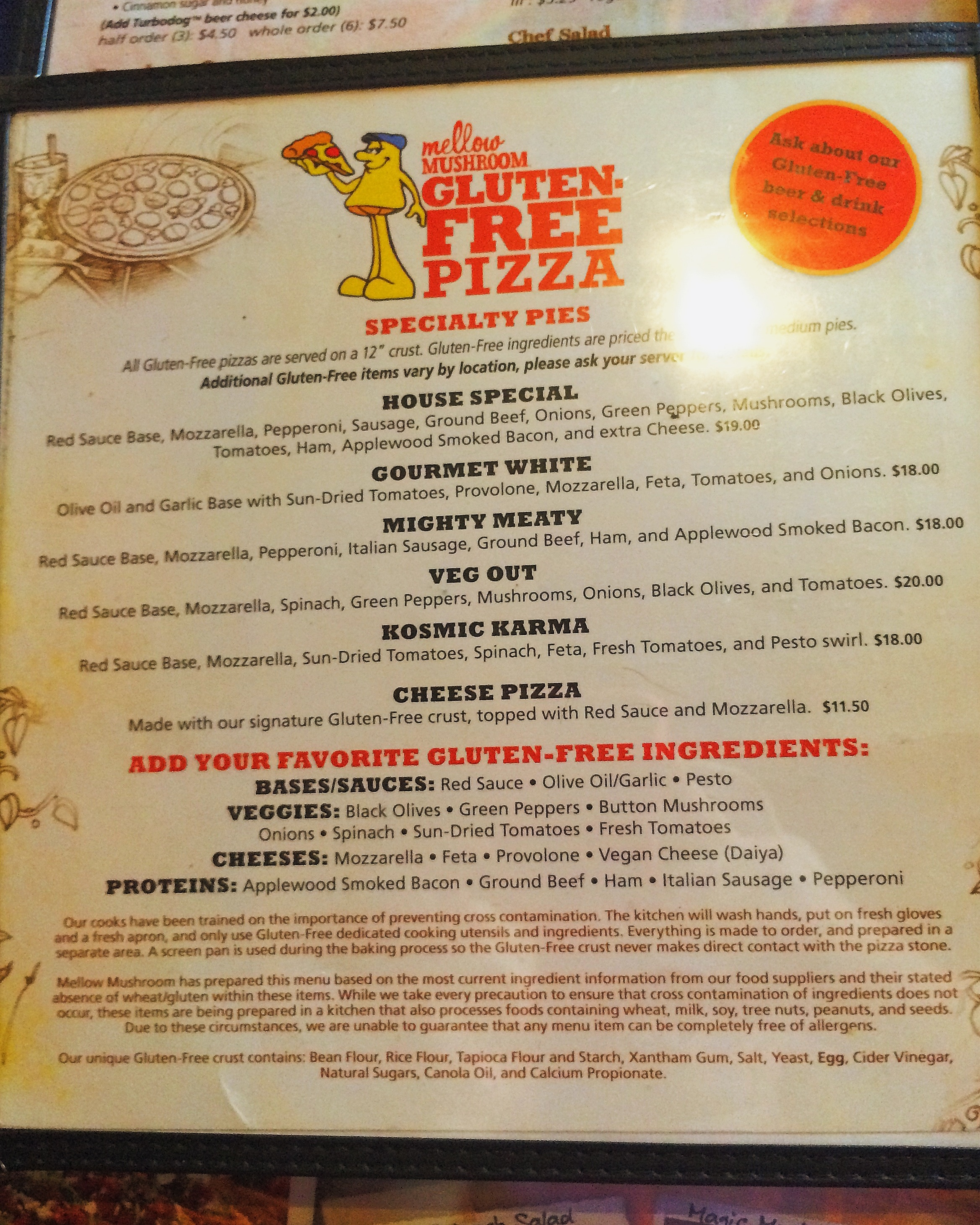 White apron gluten free - I Ordered The Mighty Meaty Gluten Free Pizza Which Includes A Red Sauce Base Mozzarella Pepperoni Italian Sausage Ground Beef Ham And Applewood Smoked