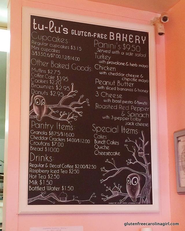Menu of gluten free items